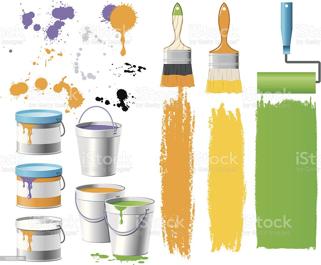 Illustration of paint brushes and cans with paint streaks vector art illustration
