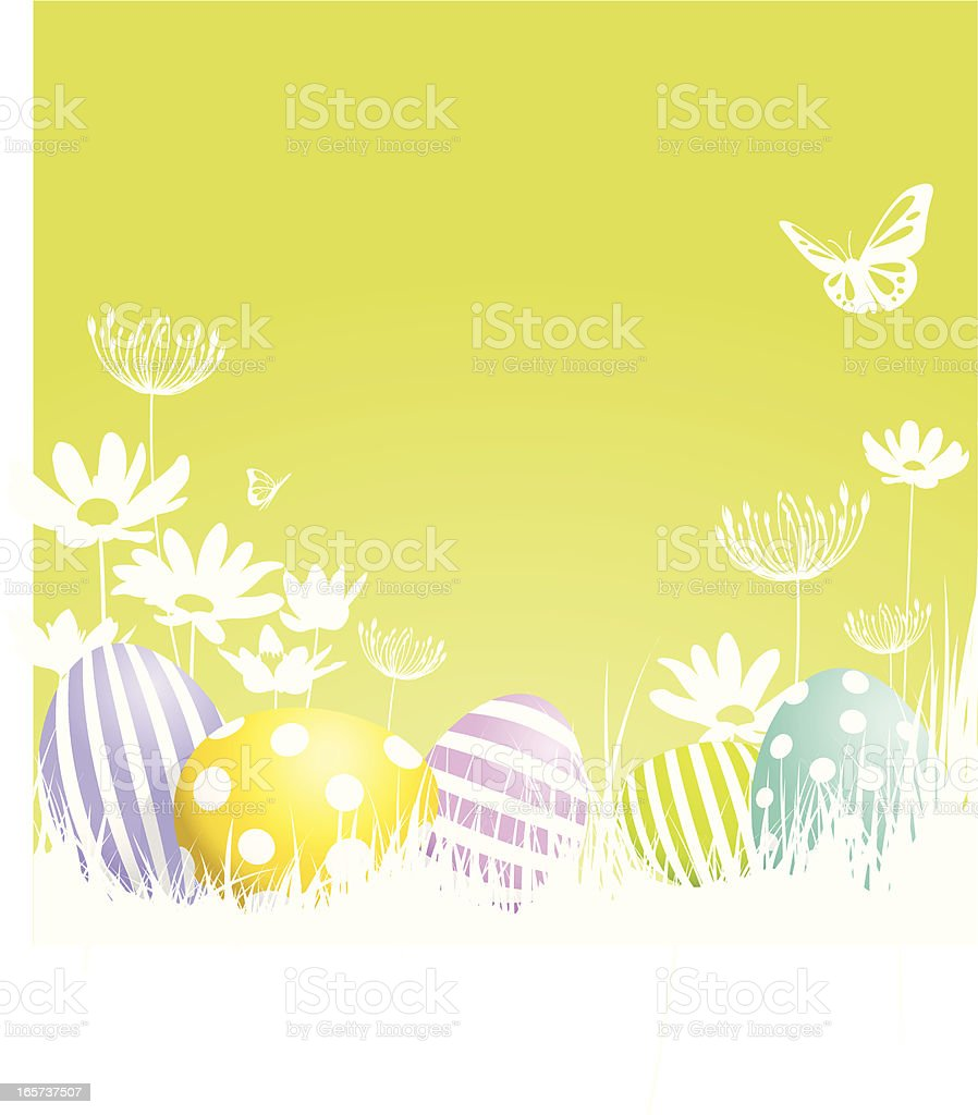 Illustration of painted Easter eggs on a spring background royalty-free stock vector art