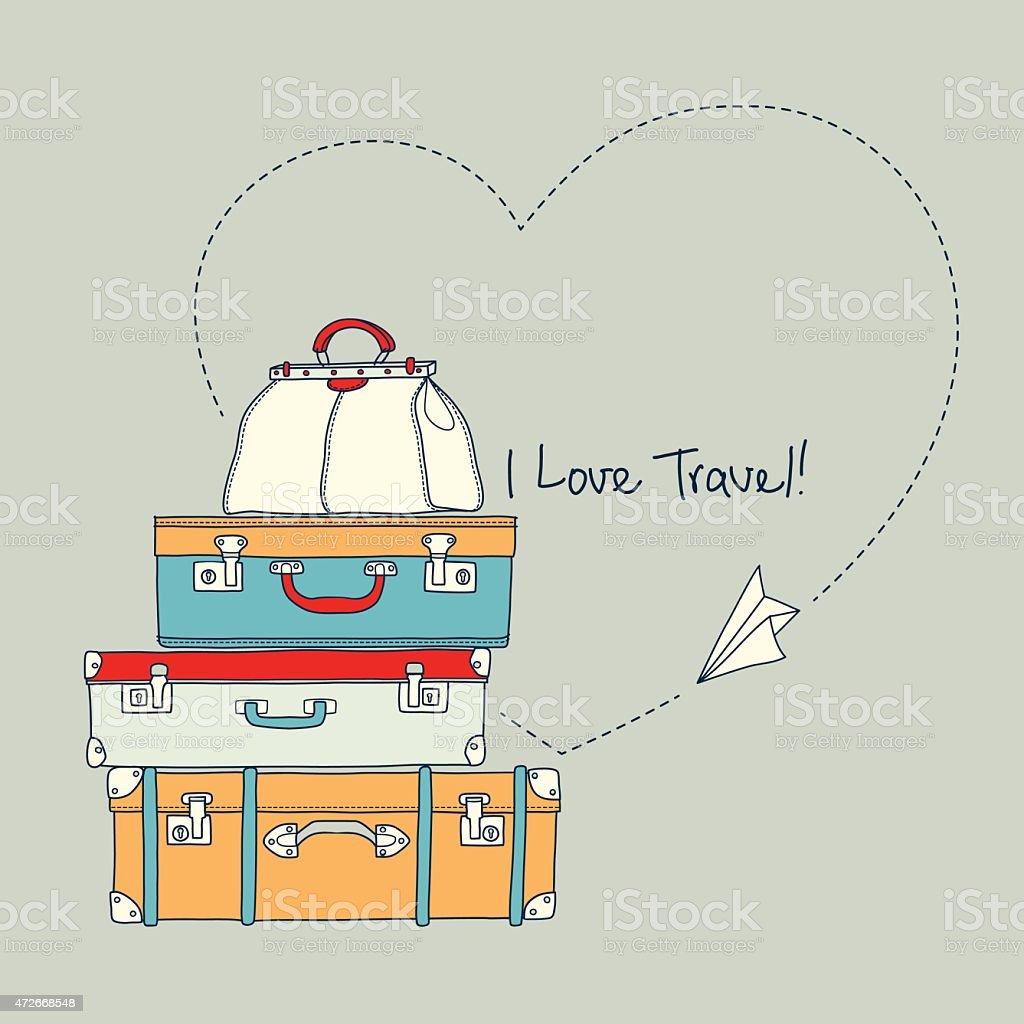 Ilustração de livro de Avião voando ao redor de malas de viagem vetor e ilustração royalty-free royalty-free