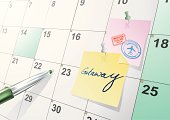 Illustration of paper reminder calendar with notes and pins