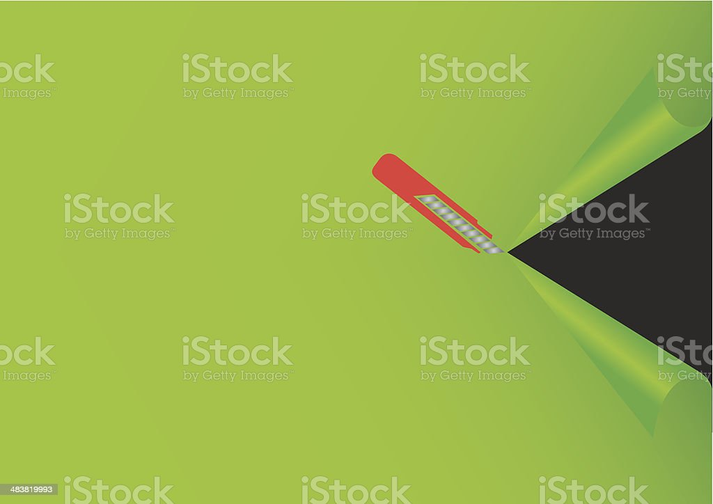 Illustration of Penknife Cutting Green Background royalty-free stock vector art