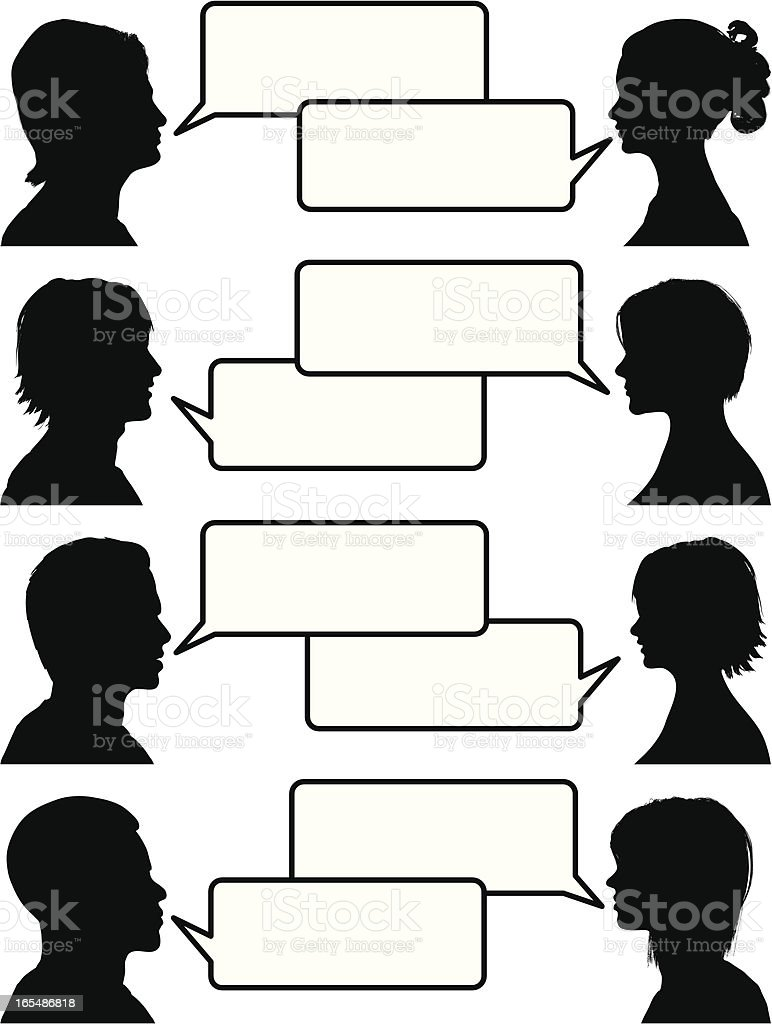 Illustration of people holding conversations royalty-free stock vector art