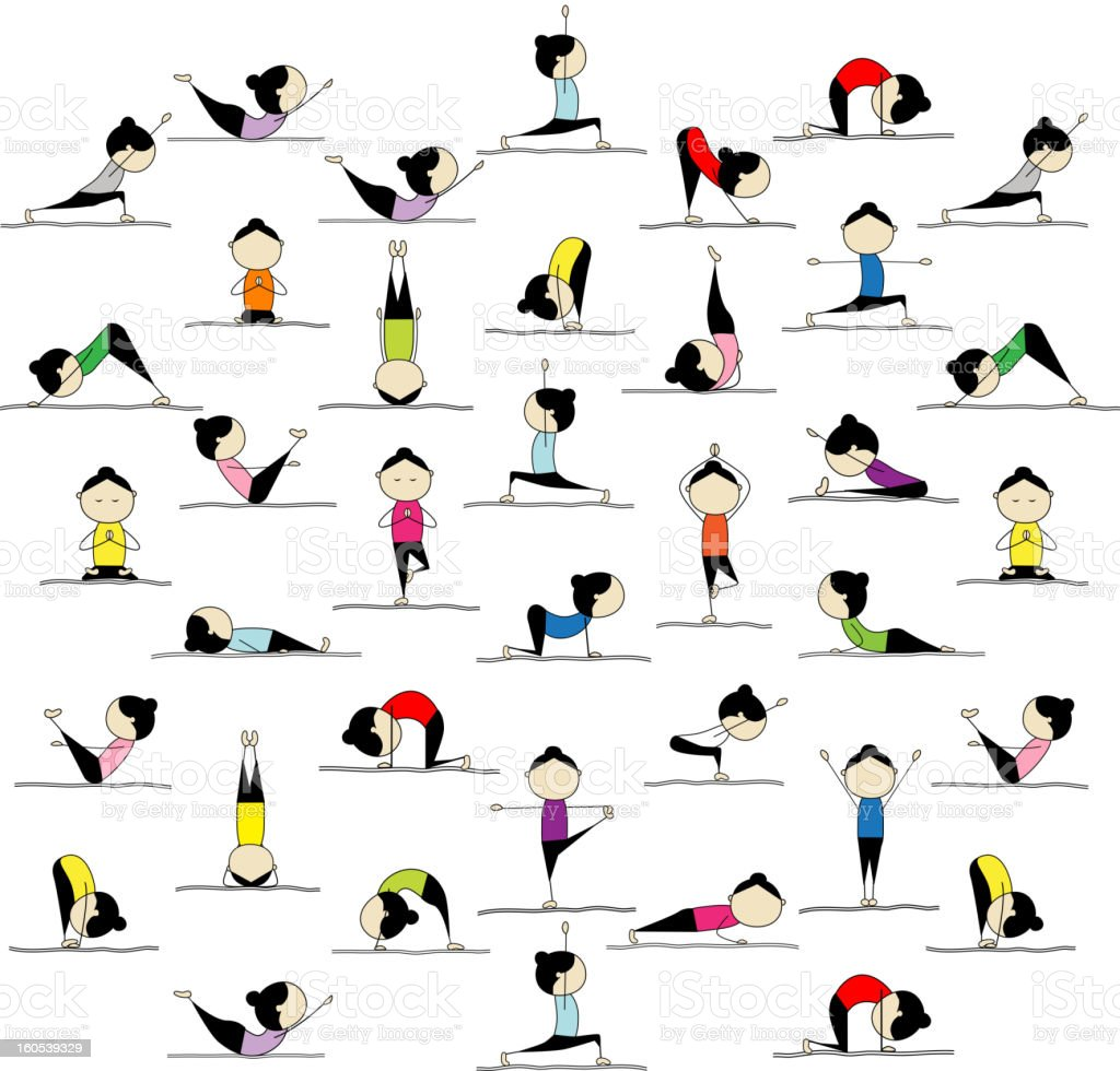 Illustration of people practicing 25 yoga positions royalty-free stock vector art