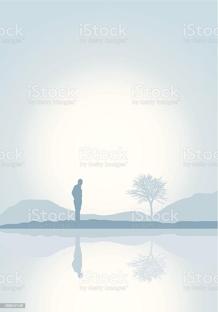 Illustration of person enjoying solitude royalty-free stock vector art