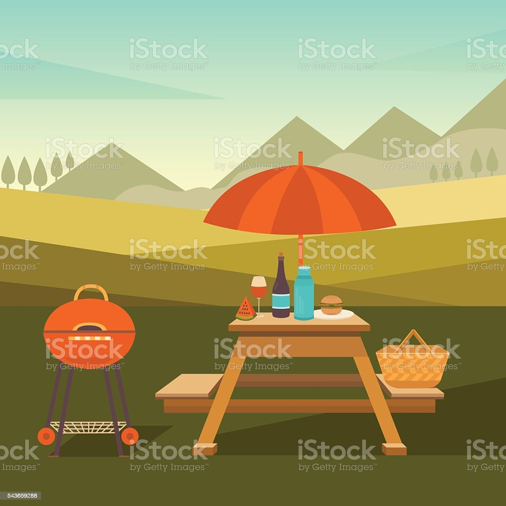 Illustration of picnic in park vector art illustration