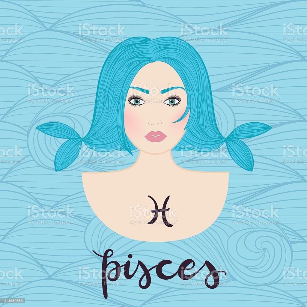 Ilustração do pisces astrological placa de uma linda garota. vetor e ilustração royalty-free royalty-free