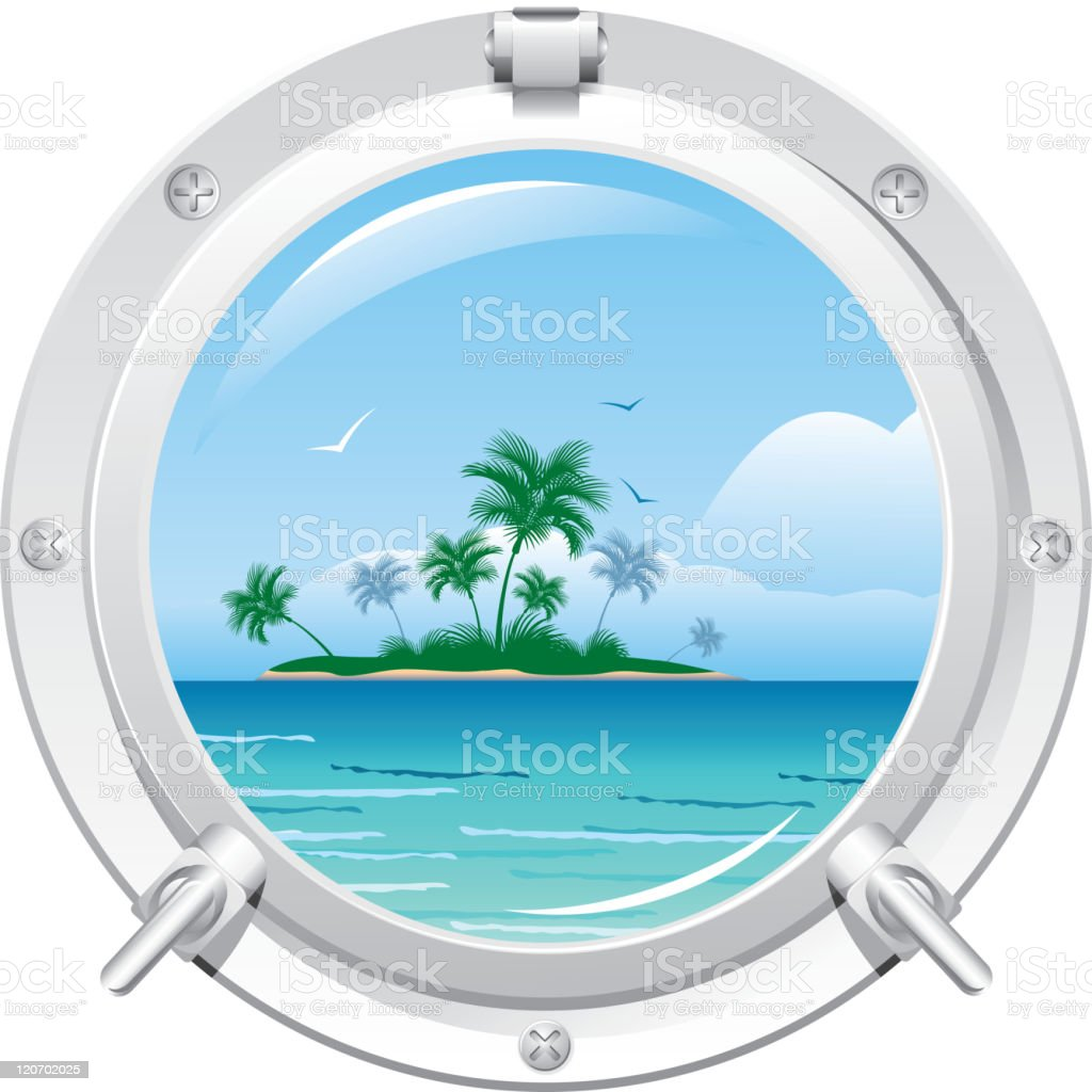 Illustration of porthole view of an isle royalty-free stock vector art