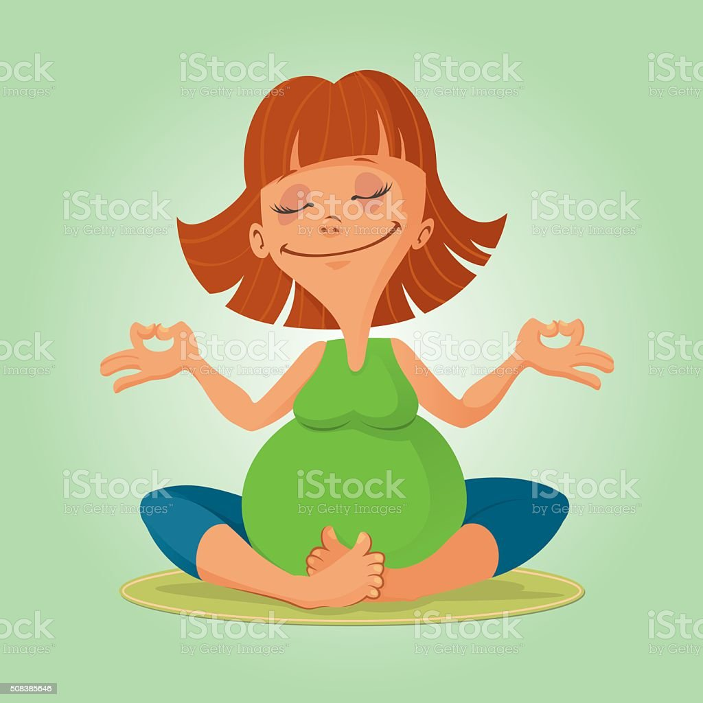 illustration of prenatal yoga vector art illustration