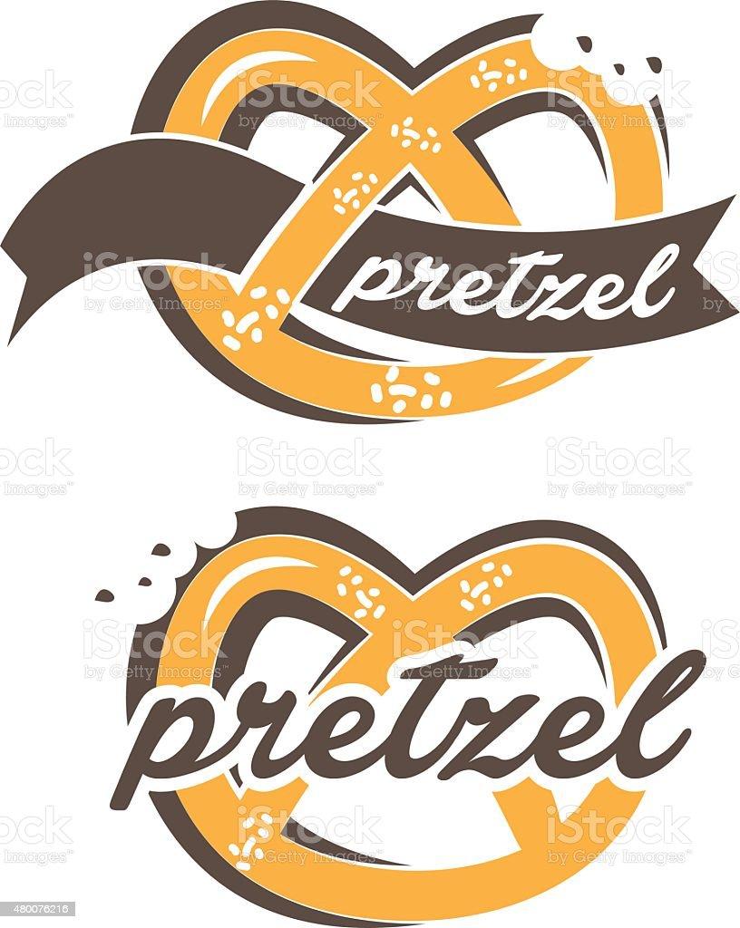 Illustration of pretzel label with text. vector vector art illustration