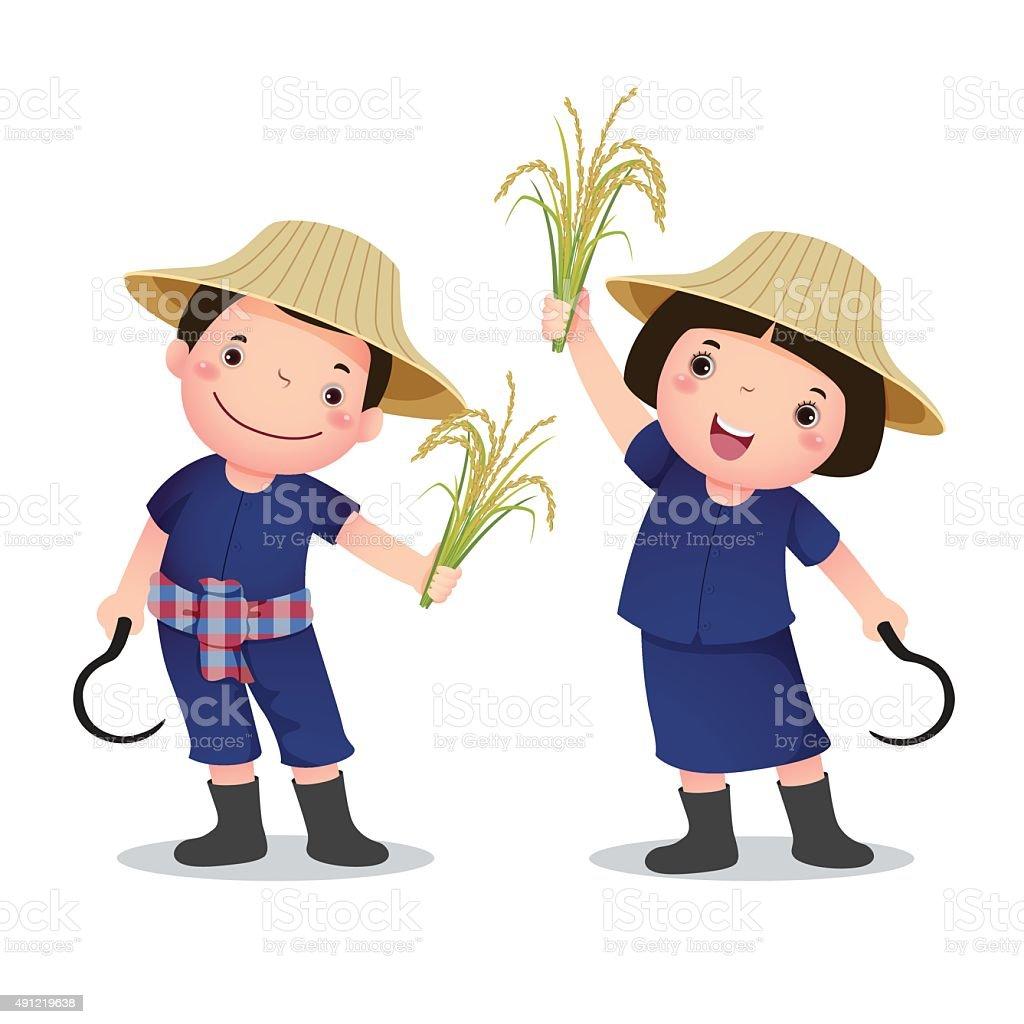 Illustration of profession costume of Thai farmer for kids vector art illustration