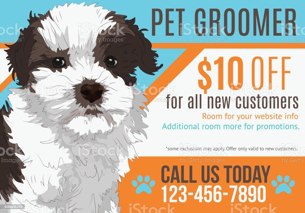 Illustration of Puppy advertising a pet groomer vector art illustration