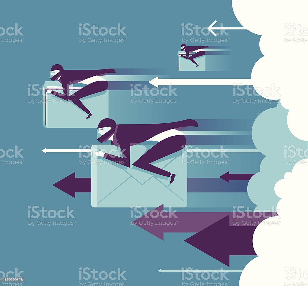 Illustration of racers on data symbols from cloud royalty-free stock vector art