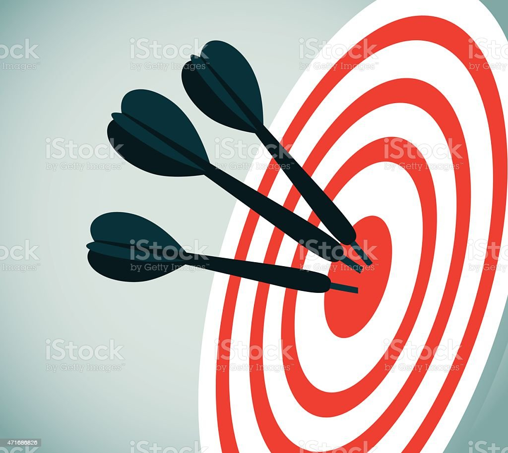 Illustration of red and white bullseye with darts in center vector art illustration