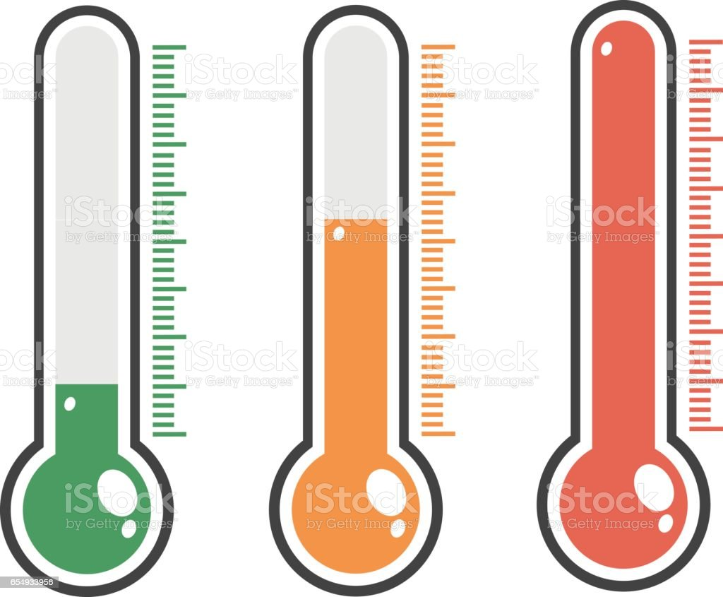 illustration of red thermometers with different levels, flat style, EPS10. vector art illustration