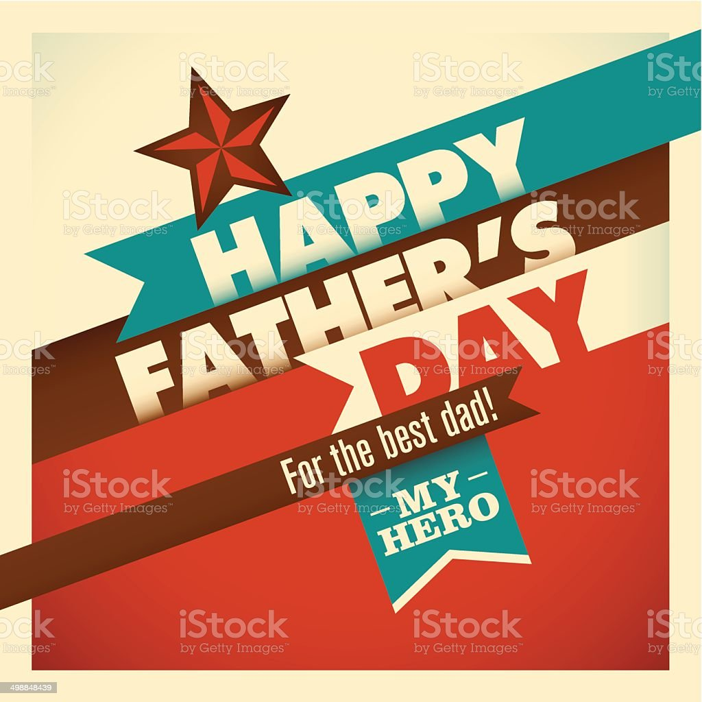Illustration of retro father's day card in color. vector art illustration