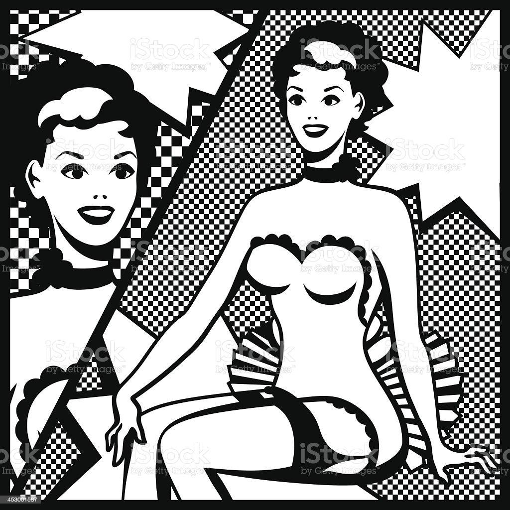 Illustration of retro girl in pop art style. royalty-free stock vector art