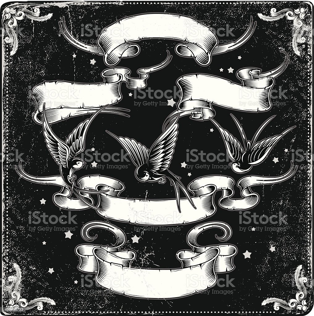 Illustration of ribbons and birds in black and white vector art illustration