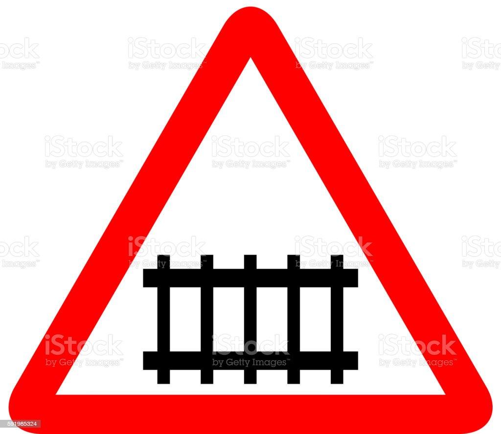Illustration of road sign railroad vector art illustration