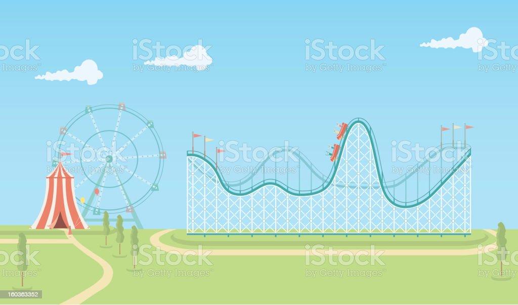 Illustration of roller coaster and ferris wheel vector art illustration