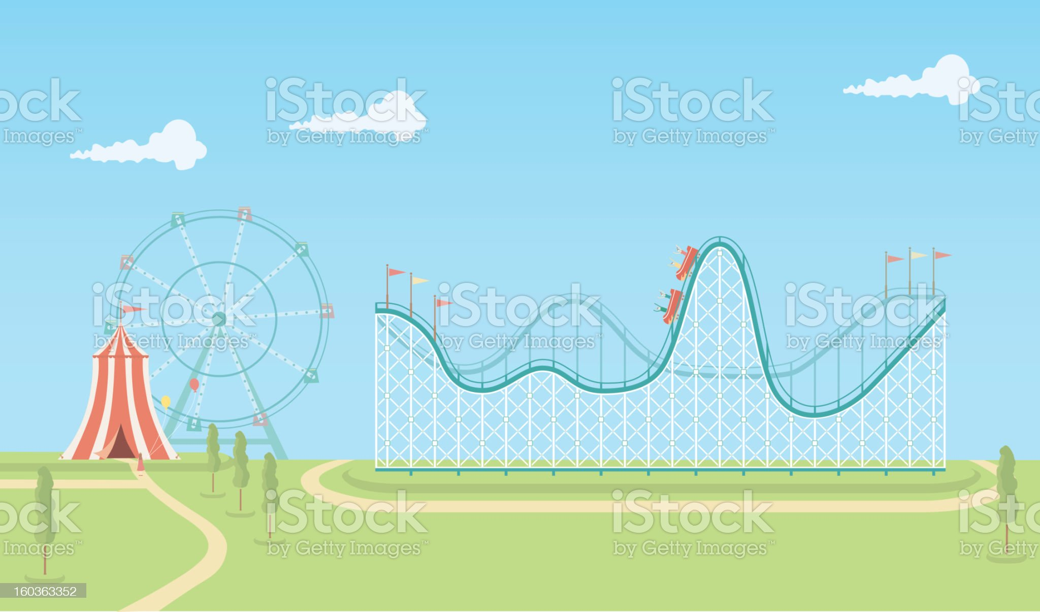 Illustration of roller coaster and ferris wheel royalty-free stock vector art