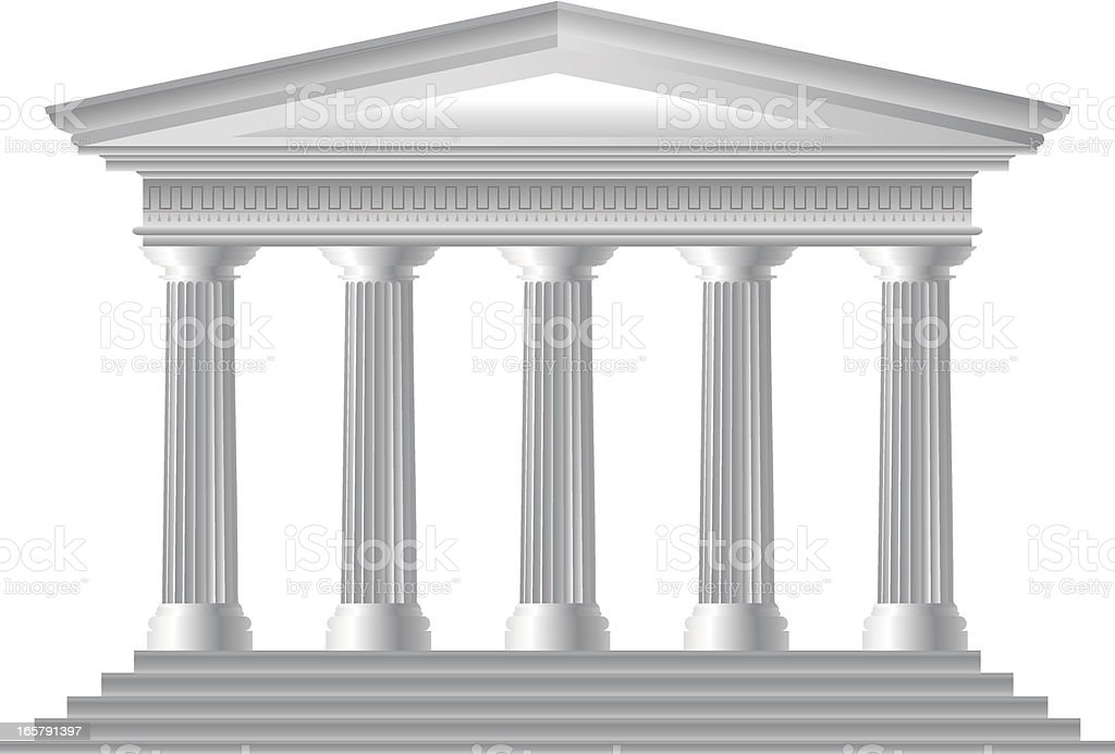 Illustration of Roman temple facade vector art illustration
