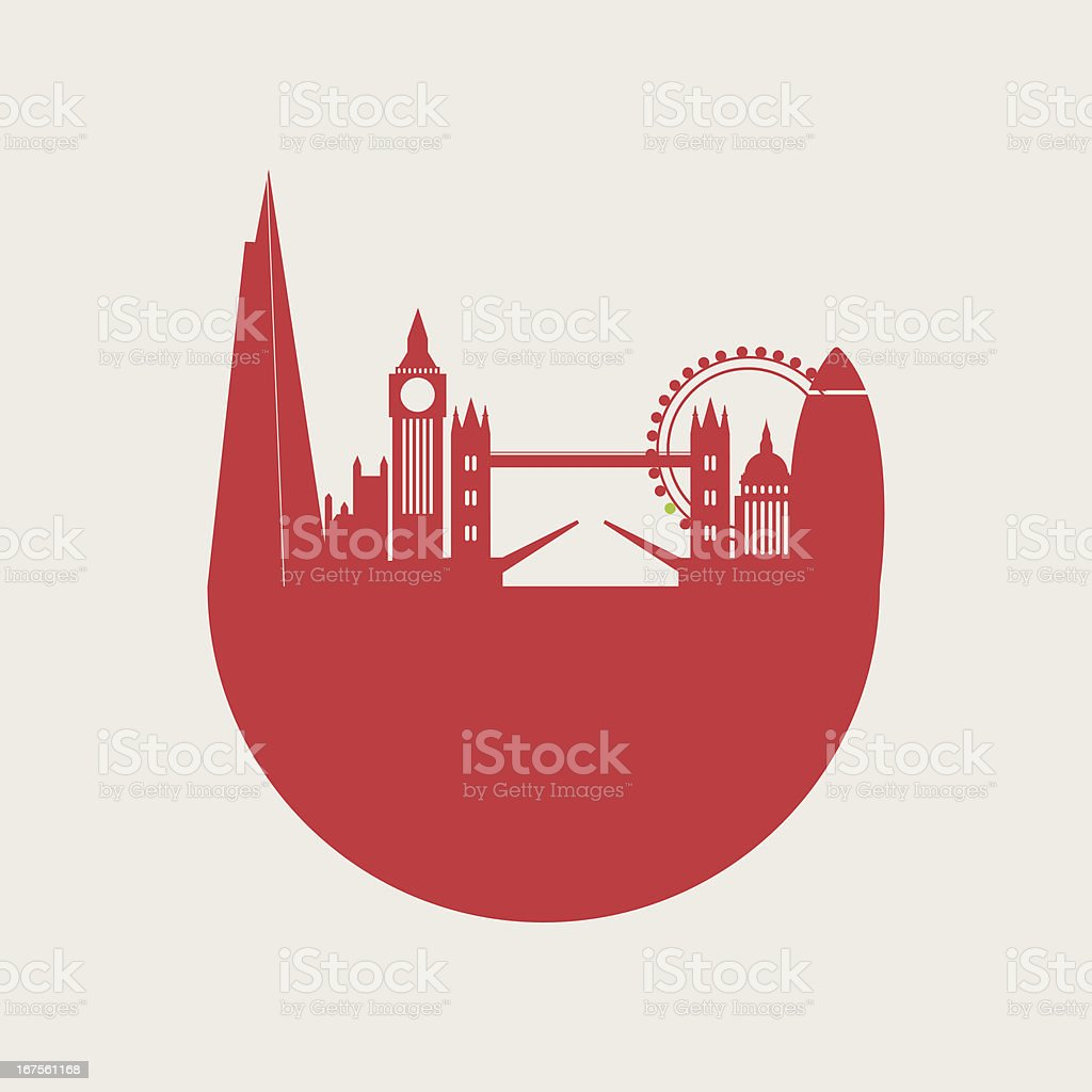 Illustration of rounded red London city skyline. royalty-free stock vector art