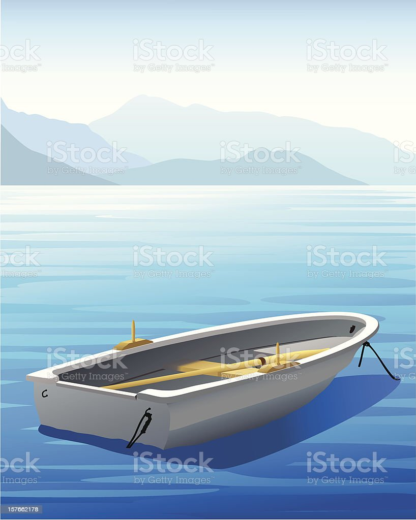 Illustration of rowboat on blue water with mountains in rear royalty-free stock vector art