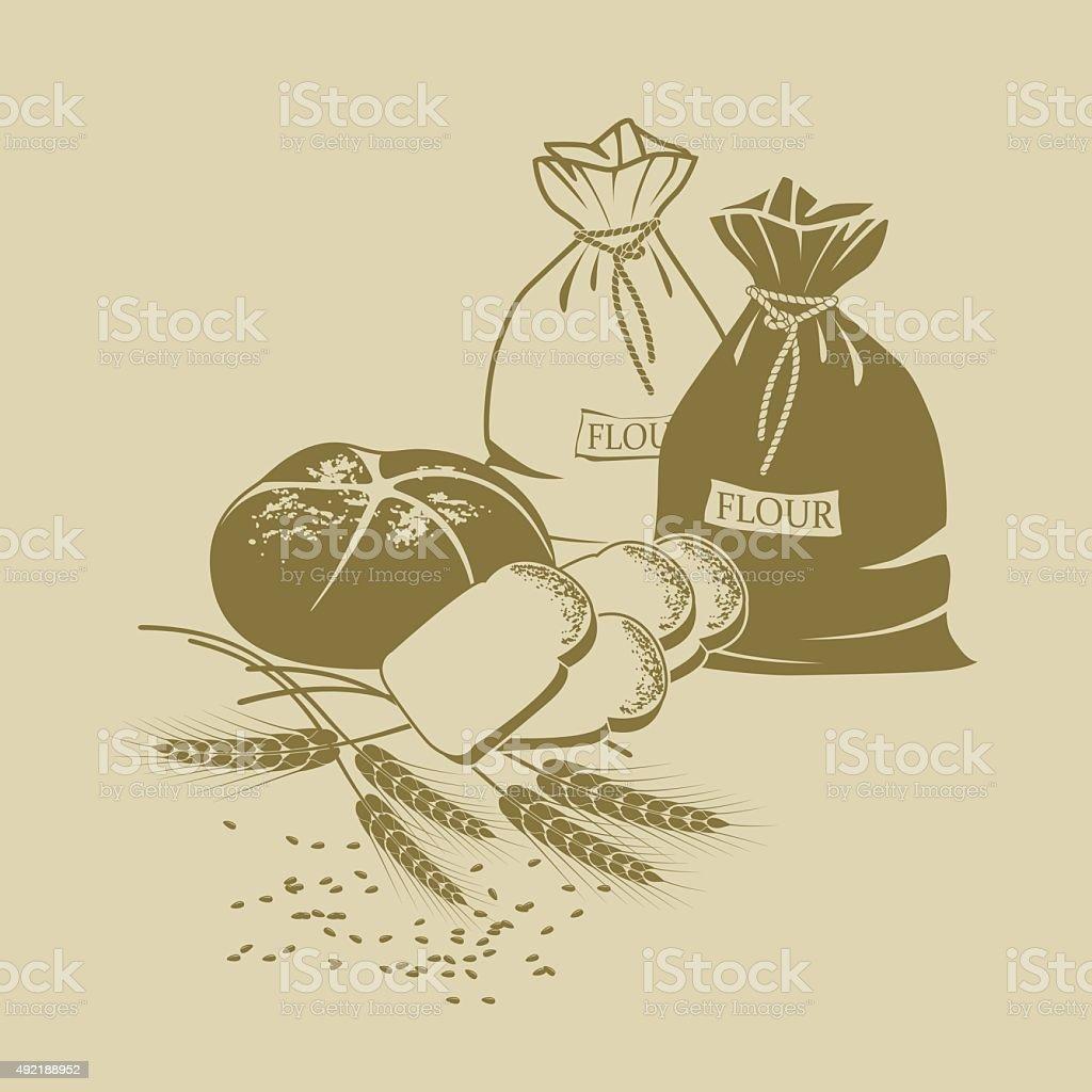 Illustration of rye bread, toast bread, wheat and sacks of flour vector art illustration