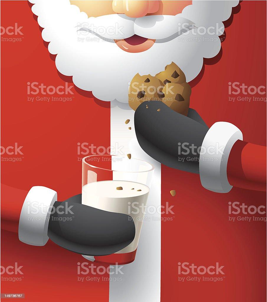 Illustration of Santa eating cookies and milk vector art illustration