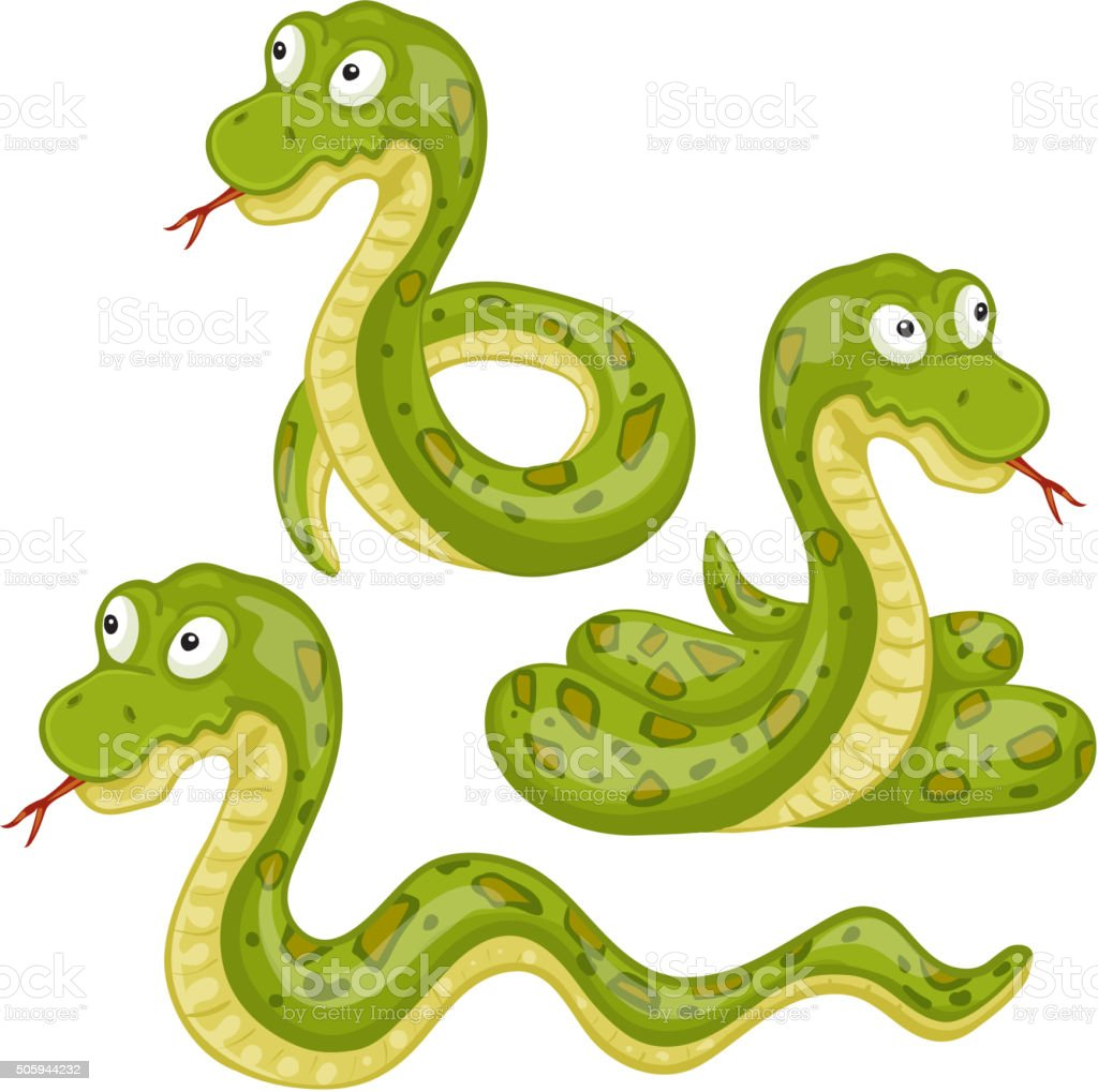 Illustration of scary snakes vector art illustration