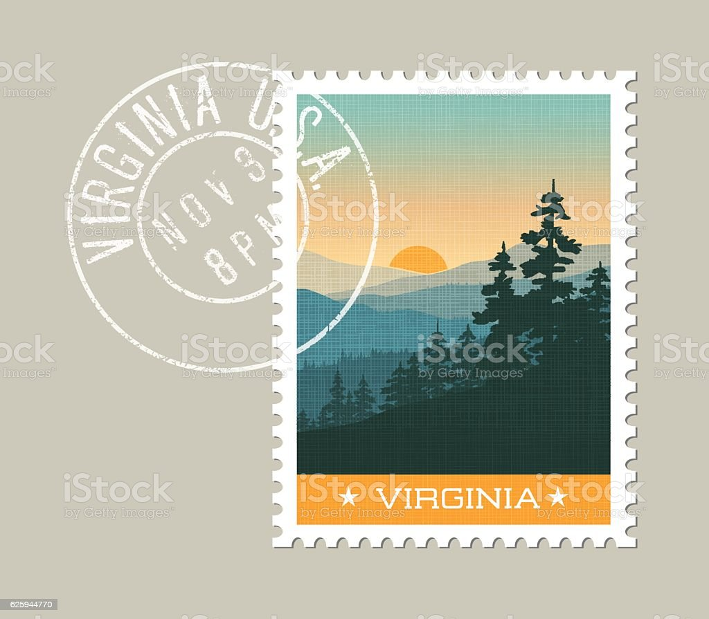 Illustration of scenic Great Smoky Mountains. Virginia, United States vector art illustration