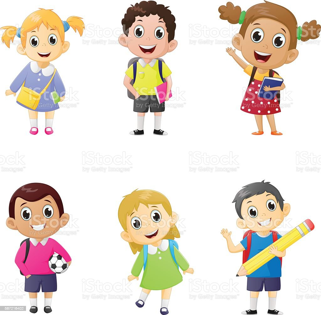 illustration of school kids in education concept. vector art illustration