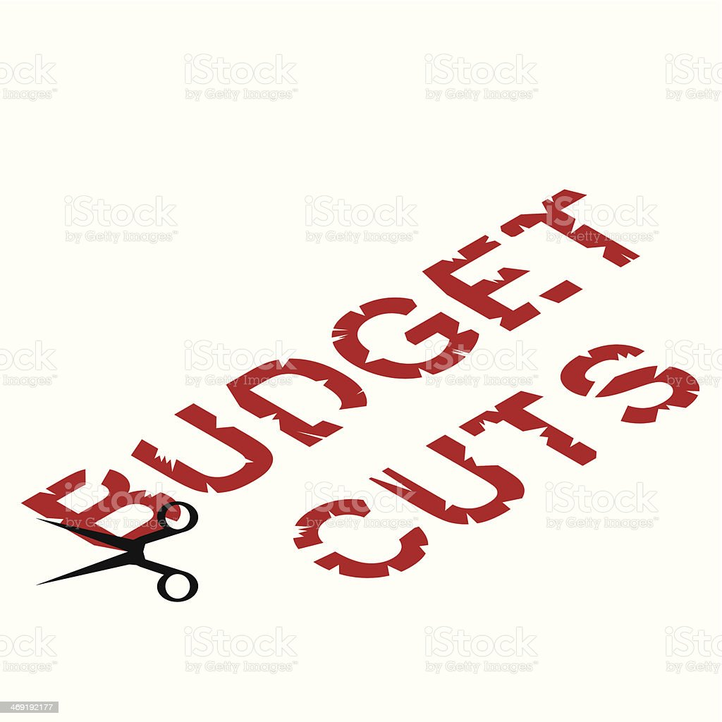 Illustration of scissors cutting into Budget Cuts wording royalty-free stock vector art