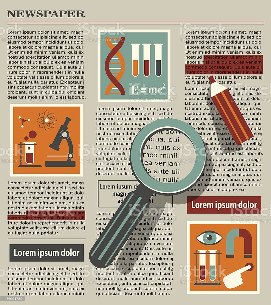 illustration of searching in newspaper with magnifying glass royalty-free stock vector art