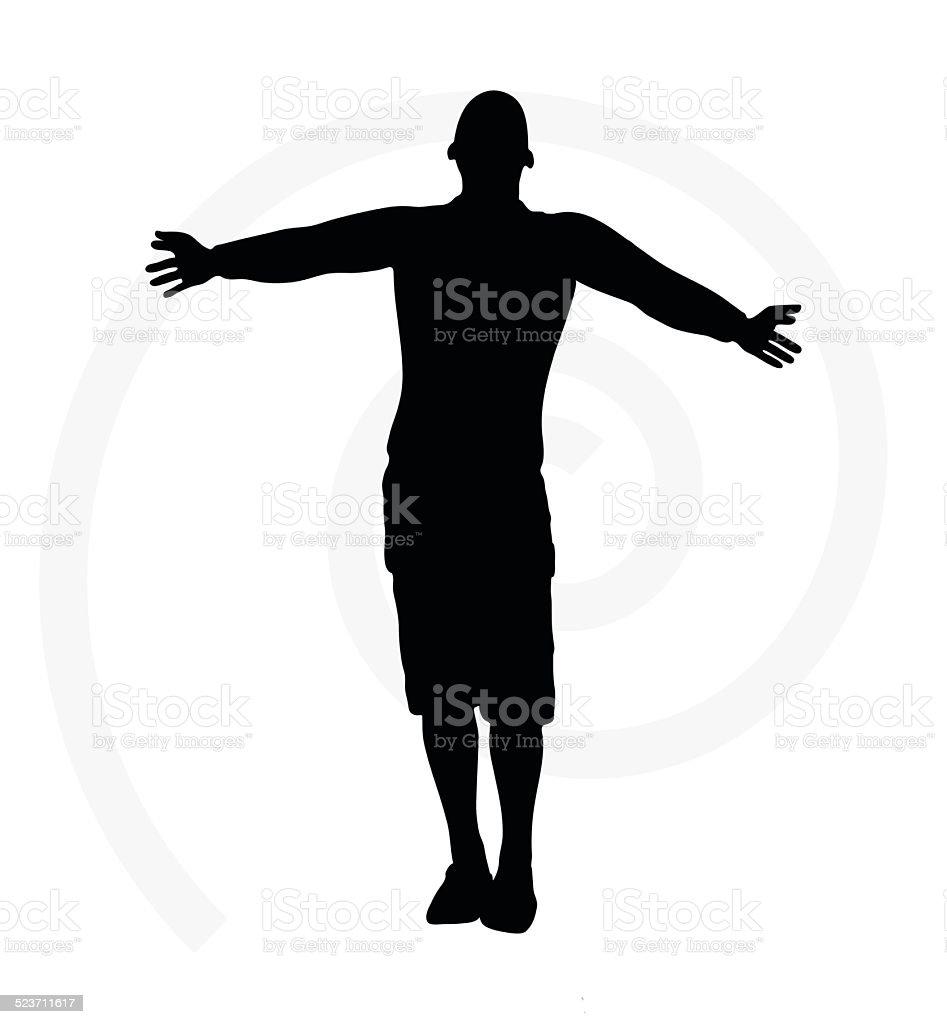 illustration of senior climber man silhouette vector art illustration