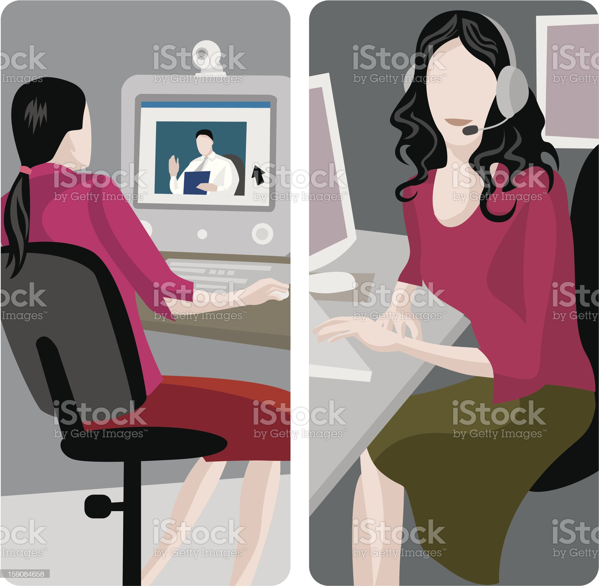 Illustration of service worker using headset and computer royalty-free stock vector art