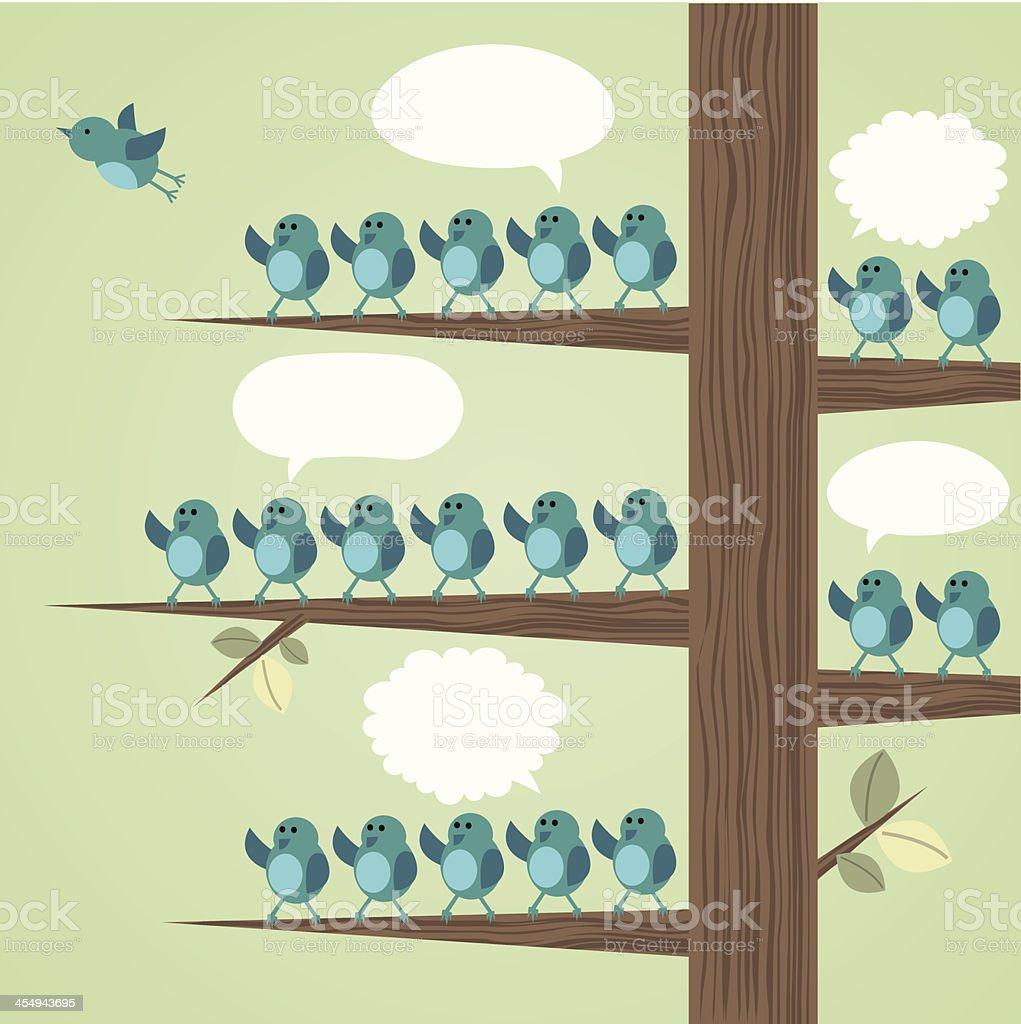 Illustration of Several blue birds resting on a tree vector art illustration