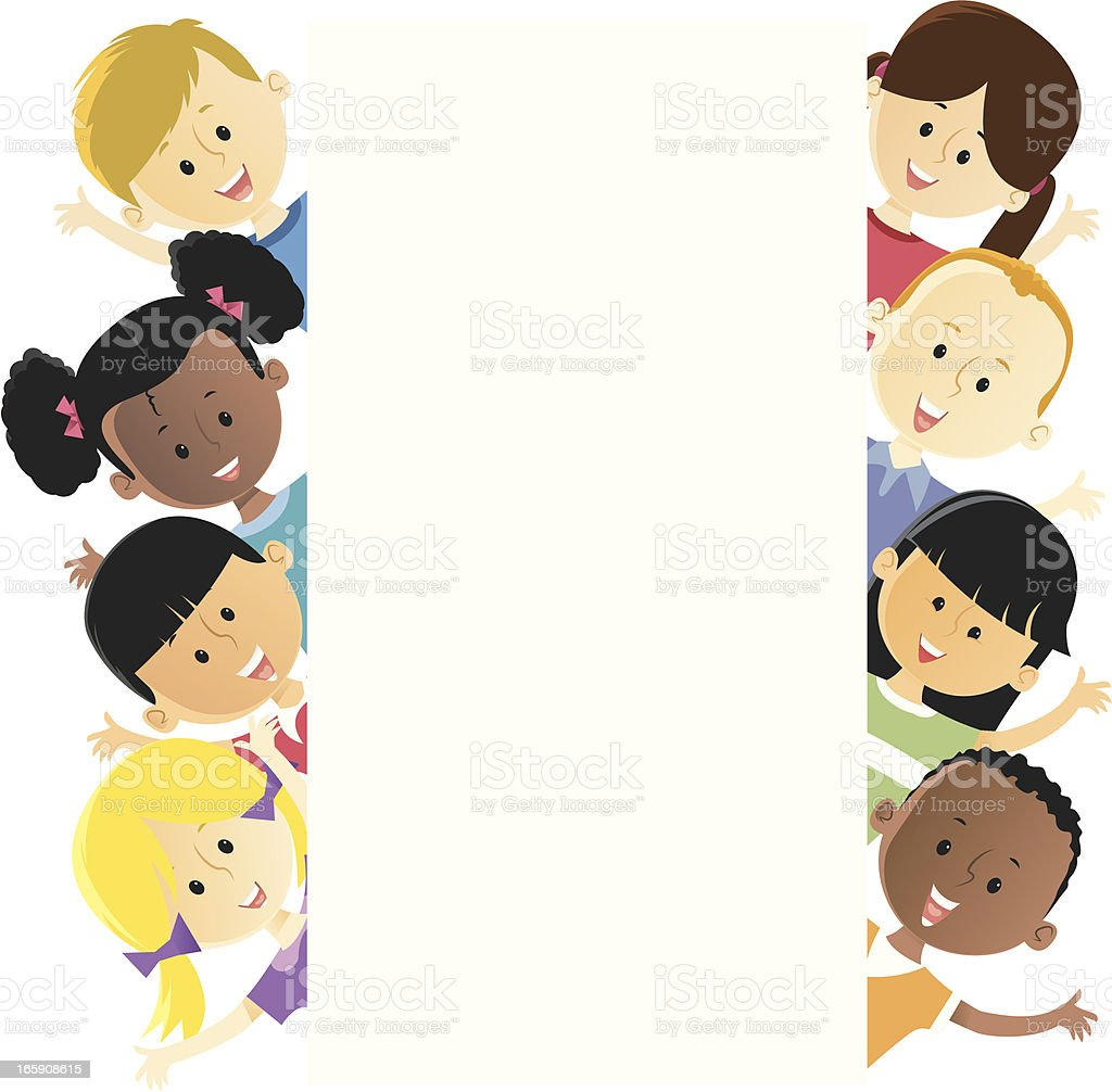 Illustration of several different children vector art illustration