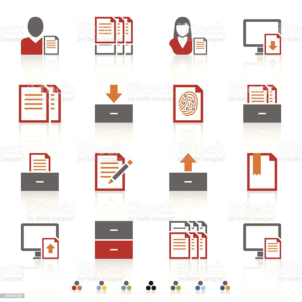 Illustration of several office icons royalty-free stock vector art