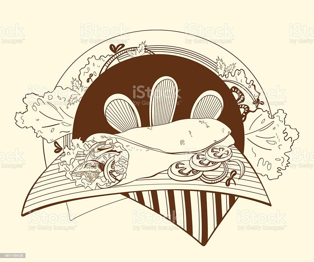Illustration of shawarma vector art illustration