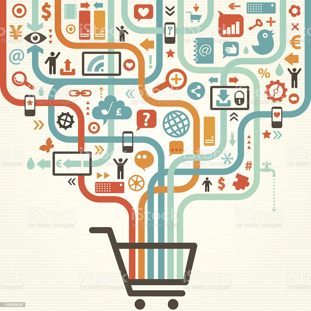 Illustration of shopping cart with various icons vector art illustration