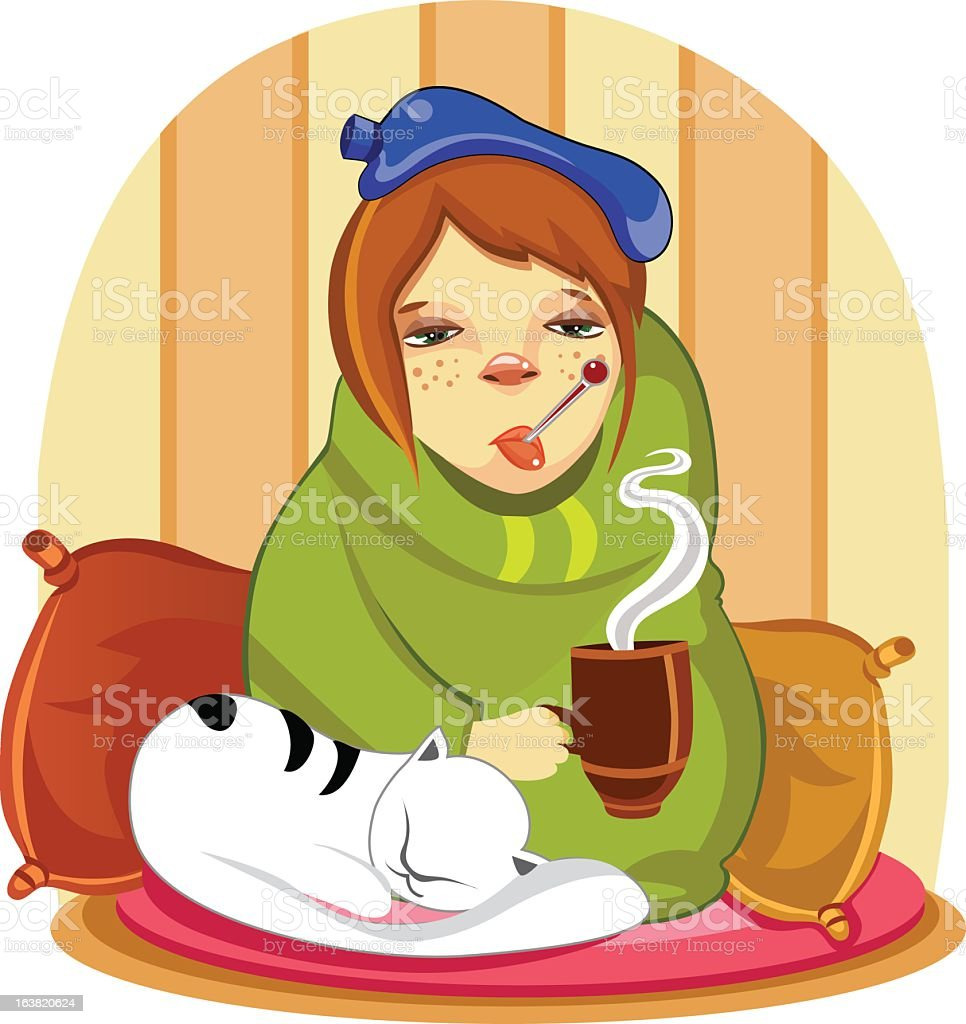 Illustration of sick girl wrapped in blankets with a cat royalty-free stock vector art