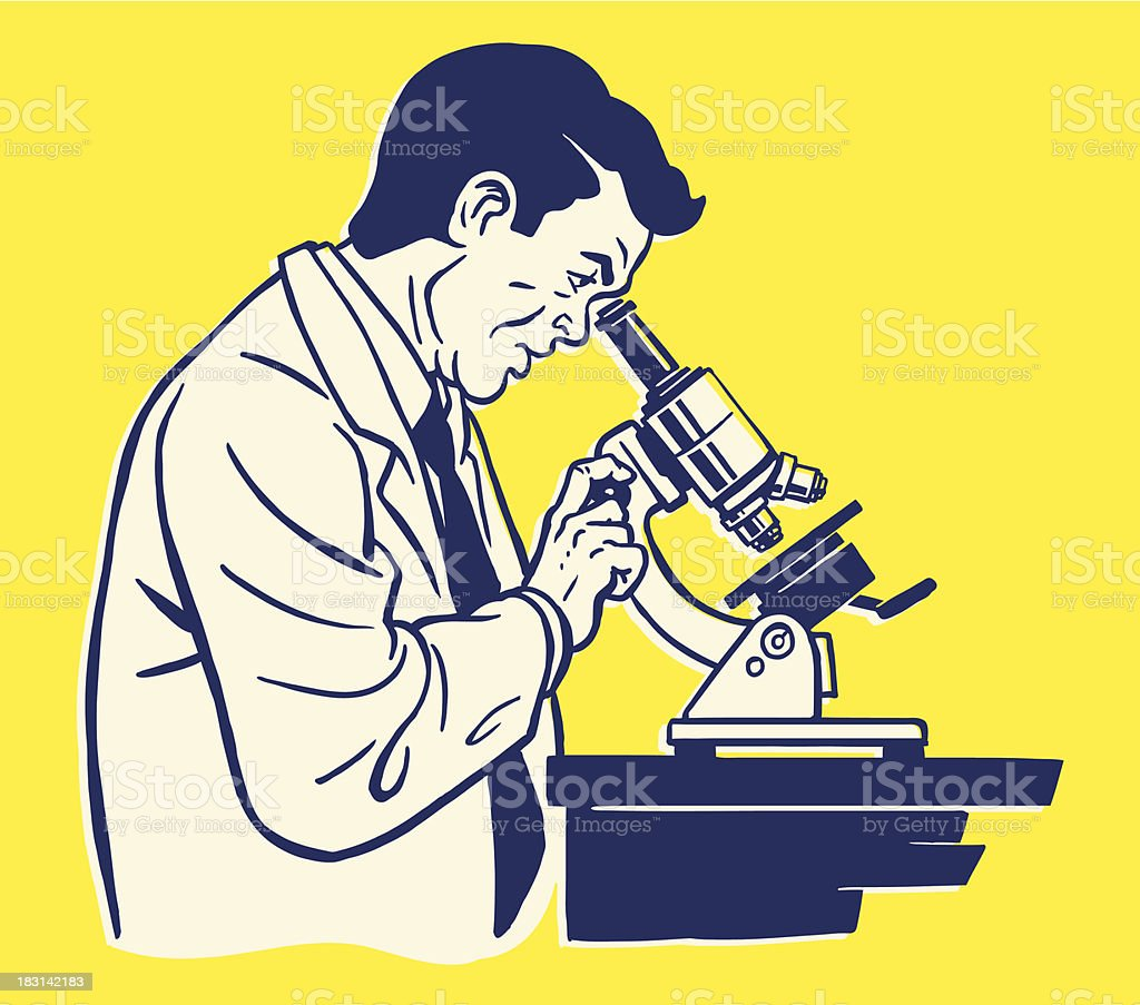 Illustration of side view of scientist using microscope vector art illustration