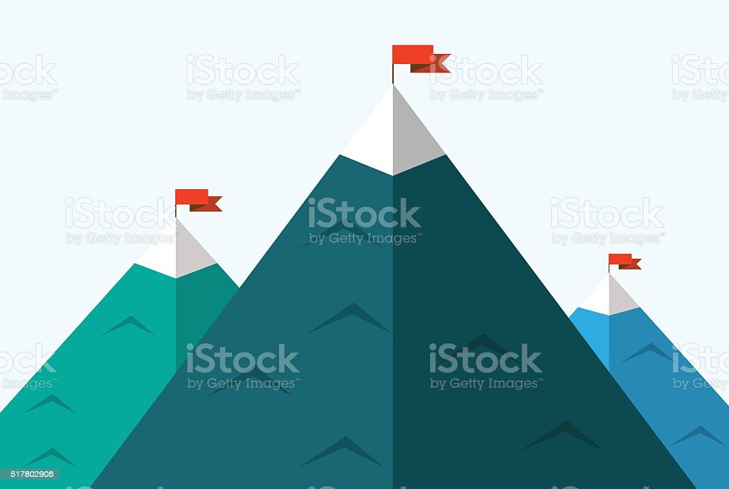 illustration of silhouettes of mountains vector art illustration