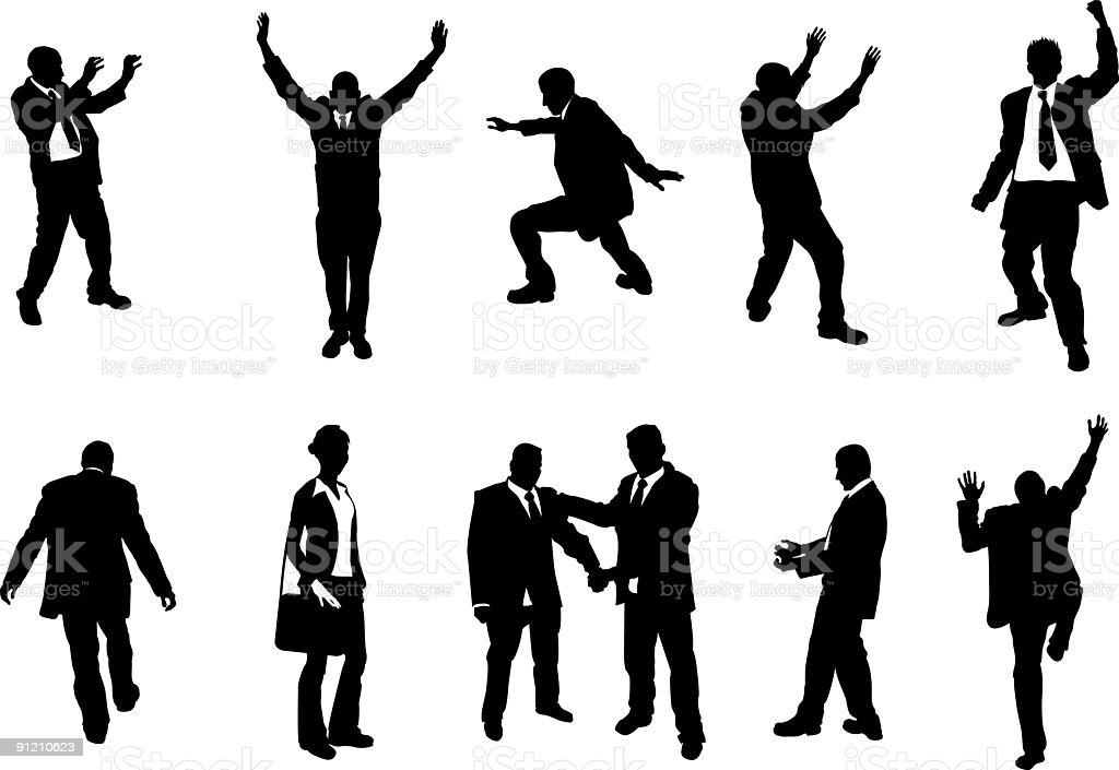 Illustration of silhouettes of people in many unusual poses royalty-free stock vector art