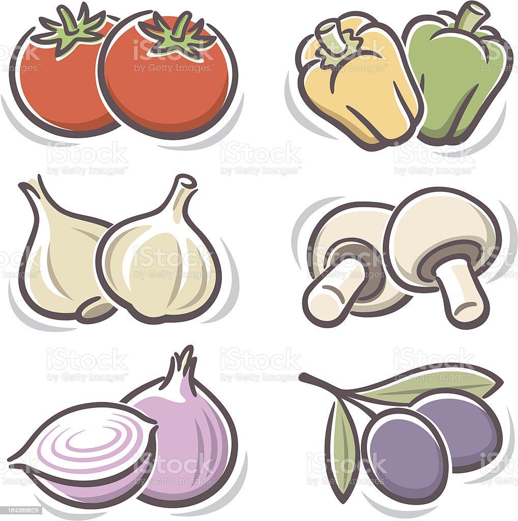 Illustration of simple Italian vegetable icons vector art illustration