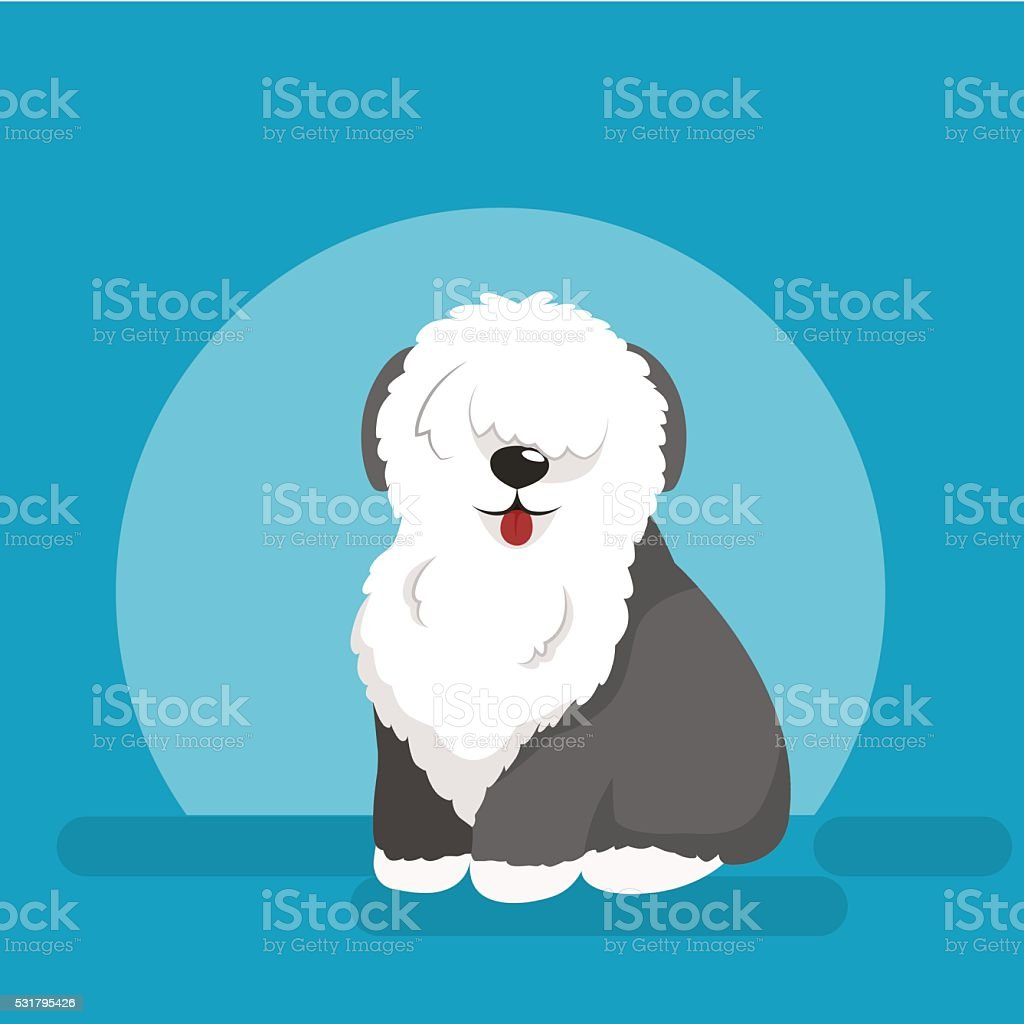 Illustration of sitting funny dog, Old English Sheepdog vector art illustration