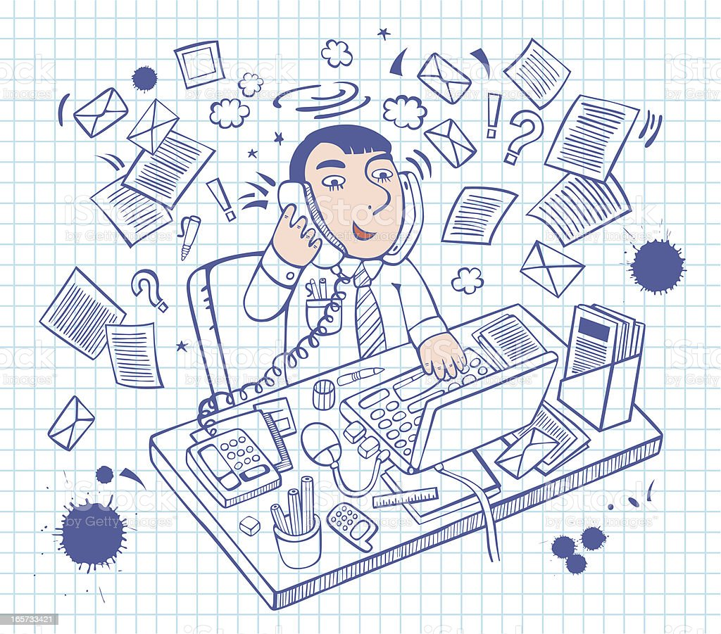 illustration of sketchy office man vector art illustration