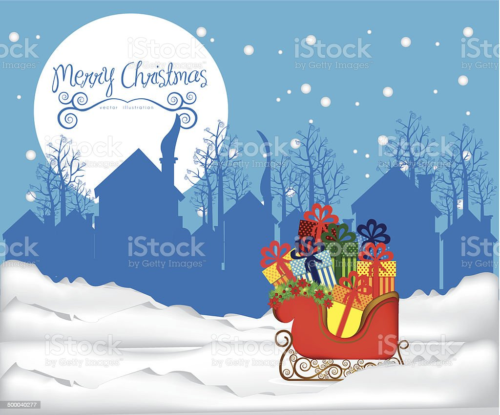 illustration of sleigh full of gifts royalty-free stock vector art