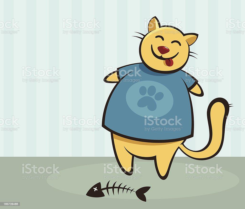 Illustration of smiling fat cat after a good breakfast vector art illustration